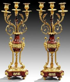 A VERY FINE PAIR OF ROUGES MARBLE AND ORMOLU CANDELABRA : Lot 192