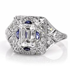 1.33ct Antique Diamond Sapphire Platinum Engagement Ring Retail $17500.00 - Dover Jewelry