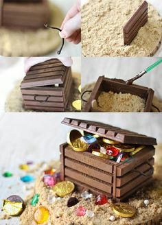 Talk Like a Pirate Day : DIY candy-filled treasure chest - Belle BébésDIY treasure-filled chest is simple enough to create and looks amazing! perfect for a lil' pirate's birthday party!fun way to have treasure chest on top of a cake Cupcakes Decorados, Pirate Party, Pirate Birthday Cake, Pirate Theme, Cake Tutorial, Cakes And More, Creative Food, Party Cakes, Eat Cake