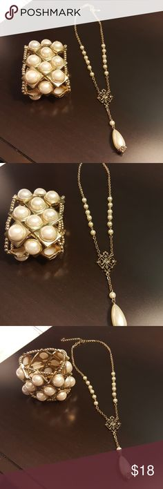 Fabulous costume duo, necklace and bracelet Beautiful gold tone necklace with pearls and golden pendant with dangling larger pearl and stretch style wide gold tone bracelet with pearls. Very attractive costume pieces. Necklace brand is 1928, bracelet brand unknown. 1928 Jewelry Necklaces