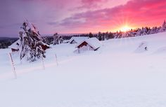 Last Sunrays on Snowbound Village by Rob Kints on 500px #norway #lillehammer