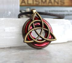 mens triquetra necklace red mens jewelry irish by NatureWithYou