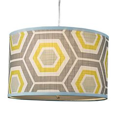 Dining room option. $149.Gray and yellow.  Retro Honeycomb Drum Shade Pendant - 4 Colors!