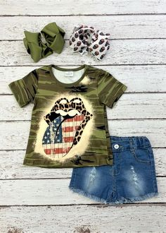 Camo shirt with the iconic hot lips featuring animal print lips and a distressed plank flag print, paired with frayed denim shorts. Any accessories shown are not included. #hotlips #camo #americanflag #4thofjuly Cute Girl Outfits, Trendy Outfits, Camo Shirts, Plank, American Flag, Denim Shorts, Lips, Animal, Hot