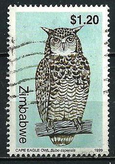 Owl postage stamp, Zimbabwe.