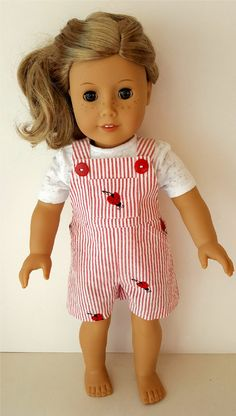 American Girl Red & White Ladybug Short Overalls and T-shirt by ILuvmCreations on Etsy