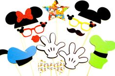 Disney Photo Booth Props - Mickey and Friends Deluxe Edition Photo Booth Props - Set of 12 props on Etsy, $38.00