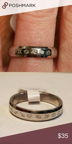 Lovely Silver Astrological Sun sign Calendar ring Pretty silver band with all Astrological Sun signs laser etched around the ring with a subtle smoothed edge finish. Size 18, I'll let you convert. Jewelry Rings