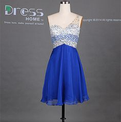 New 2014 Silver Blue Sweetheart One Shoulder Chiffon by DressHome