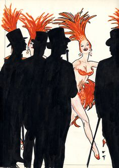 Interesting silhouette play in a fashion illustration : René Gruau.