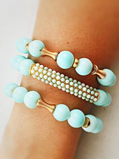 Light blue and gold beads bracelet...