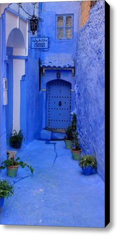 Colorful Blue Side Alley With Hotel Entry Door in Morocco