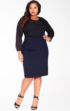 f8ac64dd7d8 IGIGI Women s Plus Size Mikaela Dress in Noir Dot The classic little black  dress gets an update from us this fall with our Mikaela Dress.