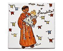 Azulejo São Benedito Santeiro - 10x10cm