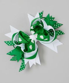 Look what I found on #zulily! Green & White St. Patrick's Day Princess Hair Bow Clip by Picture Perfect Hair Bows #zulilyfinds
