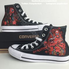 Custom Painted Deadpool themed inspired Converse Hi Tops shoes sneakers. All Adult & Children's sizes