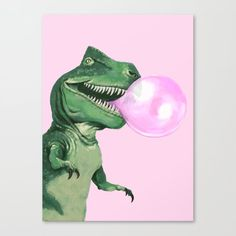Green Canvas Art, Canvas Art Prints, Canvas Wall Art, T Rex, Bubble Gum, Metal Art, Bubbles, Just For You, Artwork