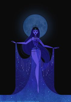 Nikkie Stinchcombe - Nyx, the Greek goddess or personification of the night. A commissioned piece & part of my on-going exploration of the goddess and her representation and symbolism in ancient cultures. Inspired by Erté. Pretty Art, Cute Art, Art Et Illustration, Illustrations, Halloween Illustration, Art Sketches, Art Drawings, Bel Art, Art Mignon