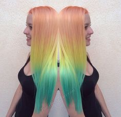 Salmon, lemon and seafoam ombre on your hair? Sounds great looks awesome, cant lose!