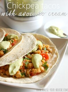 A simple chickpea taco filling, served in flour tortillas and dolloped with a luxurious avocado cream made with Greek yoghurt.
