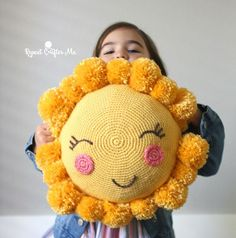 Crochet PomPom Sunshine Pillow for the CYC Pompom Party! – Repeat Crafter Me Crochet PomPom Sunshine Pillow for the CYC Pompom Party! – Repeat Crafter Me Crochet Home, Crochet For Kids, Crochet Crafts, Crochet Dolls, Yarn Crafts, Crochet Baby, Crochet Projects, Free Crochet, Knit Crochet