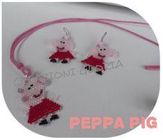 Collana e orecchini Peppa pig http://ilfilodimais.blogspot.it/2013/08/parure-peppa-pig-e-george.html