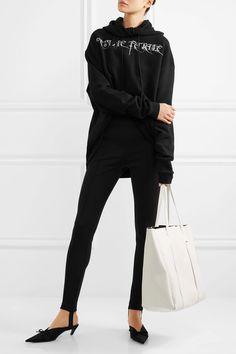 Black stretch-jersey Slips on 95% cotton, 5% elastane Dry clean