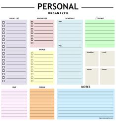 Personal Organizer Planner Template - To Do List, Notes, Important Dates, Schedule Planner Monthly Planner Template, Binder Templates, Schedule Templates, Printable Planner, Printables, To Do Planner, Goals Planner, Organizer Planner, Planner Organization