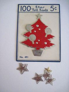 Antique Vintage Christmas Tags for Packages 12 Pcs Foil Stickers w Tree Stars   eBay