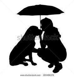 umbrella silhouette: Vector silhouette of the woman with the dog. Silhouette Painting, Silhouette Clip Art, Woman Silhouette, Shadow Art, Shadow Puppets, Crayon Art, Melting Crayons, Black N White Images, Dog Tattoos