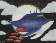 ballena bombardera Snoopy, Painting, Fictional Characters, Whale, Art, Painting Art, Paintings, Fantasy Characters, Drawings