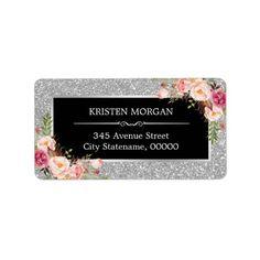 Elegant Pink Floral Silver Gray Glam Glitter Label
