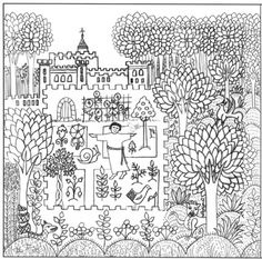 Medieval Garden Sketch by Jacque Wadsworth Art, via Flickr