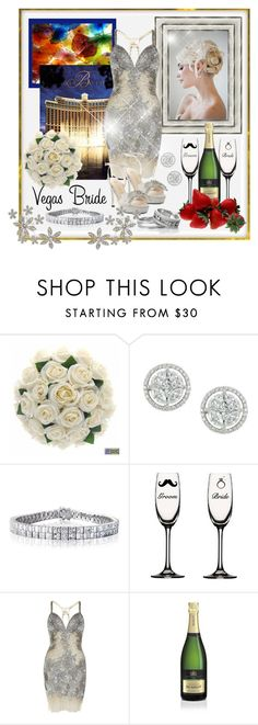"""My Vegas Wedding!"" by pixidreams ❤ liked on Polyvore featuring Bellagio, Jovani, E! Live From The Red Carpet, wedding bands, champagne glasses, diamond bracelet, diamond stud earrings, vegas bride, beaded short dress and evening platform pumps"