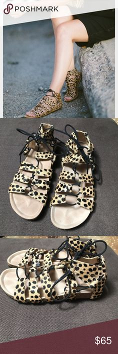 Loeffler Randall Leopard Calf Hair Sandals Lightly worn! These are super comfy and cute. The laces are extra long so you can change the look by wrapping them around your ankle. Birkenstock style bottoms with rubber sole make these an easy wear. Fits true to size. Loeffler Randall Shoes Sandals