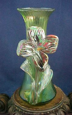 Antique Bohemian Kralik Iridescent Green Applied Spatter Flower Art Glass Vase | eBay
