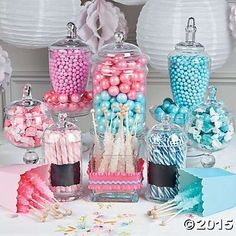 Pink and blue gender reveal candy buffet idea.