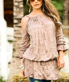 Another great find on #zulily! Desert Tan Crinkle Cutout Tunic by AM PM #zulilyfinds
