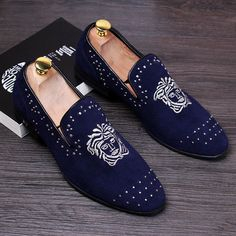 Men velvet loafers genuine leather rivets slip on causal shoes driving mocassins boat shoes Loafer Shoes, Loafers Men, Men's Shoes, Dress Shoes, Leather Rivets, Leather Slip Ons, Versace Loafers, Groom Shoes, Party Shoes