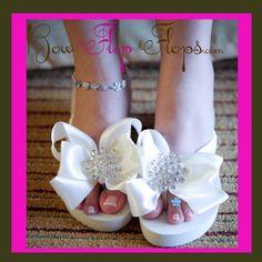 4ed3777b717db9 Ivory White Bridal Flip Flops Jewel Flat or Wedge Rhinestone Satin  Rhinestone Bow Wedding Bride platform heel Wedding Ribbon bridesmaids