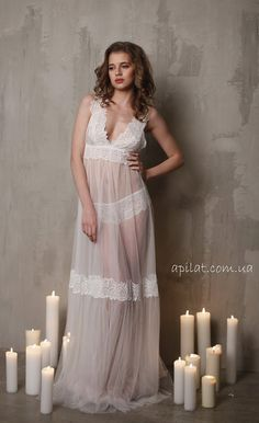 Long Tulle Bridal Nightgown With Lace