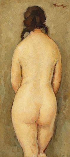 """Intimitate [1933-1934] NICOLAE TONITZA 1886, Bârlad - 1940, Bucureşti ulei pe carton, 40 × 19,5 cm, semnat dreapta sus, cu brun, """"Tonitza"""" Valoare estimativă: € 15.000 - 25.000 Global Art, Art Market, Dinosaur Stuffed Animal, Artist, Animals, Paintings, Expressionism, Animales, Animaux"""