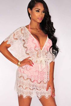 White V Neck Lace Cover Up Dress