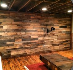 Pallet Wood Paneled Wall With Scones Lights Rustic Walls