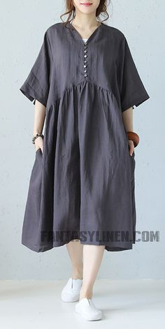 e5f1b2e2224 Vintage Plus Size Linen Dresses Women Loose Clothes Q1177 Linen Dresses