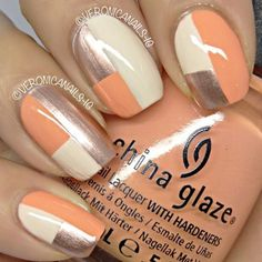 Geometric nail art: three color colour design: peach, white and silver squares #spring #summer #fall #autumn #winter #nailart #manicure easy 2013 | #veronicanails