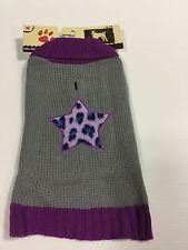 Holiday Winter Dog Purple Grey Star Sweater Jacket Coat New Dog Cloths Size MED