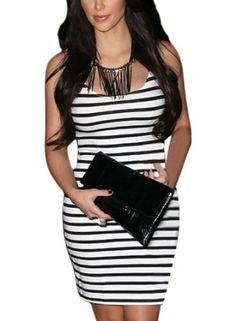 Miusol Celebrity Black stripe Slim Fit Pencil Casual Dress,Vest Dress #miusol #dress