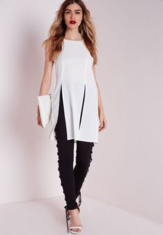 Missguided - Long Line Double Split Cami White