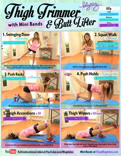 How to trim your thighs and lift your butt! You can do the workout with or without the mini bands, but when you're ready to add intensity, get them here: http://www.ogorgeous.com/product/blogilates-mini-bands Have fun! Cassey